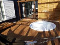 2019年3月施工 床板にイタウバ-マットグロッソ、根太と柱にアマゾンアンジェリーナを使用