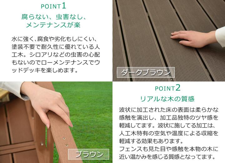 DIY人工木デッキ カルパティアⅢ おすすめポイント1-2 腐らない虫害なし/リアルな木の質感
